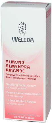 Soothing Facial Cream, Almond, 1.0 fl oz (30 ml) by Weleda, 美容,面部護理,面霜,乳液,健康,皮膚,晚霜 HK 香港