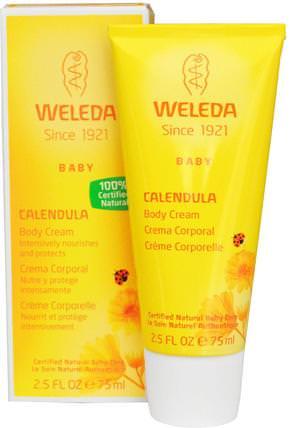 Baby Body Cream, Calendula, 2.5 fl oz (75 ml) by Weleda, 沐浴,美容,潤膚露,面部護理,曬傷防曬,金盞花 HK 香港