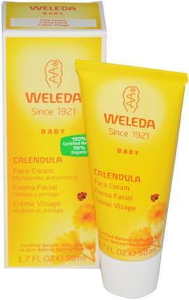 Baby, Calendula Face Cream, 1.7 fl oz (50 ml) by Weleda, 美容,面部護理,曬傷防曬,金盞花,沐浴,嬰兒潤膚露 HK 香港