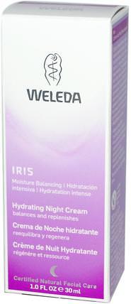 Hydrating Night Cream, Iris, 1.0 fl oz (30 ml) by Weleda, 美容,面部護理,面霜,乳液,健康,皮膚,晚霜 HK 香港