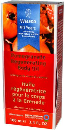 Pomegranate Regenerating Body Oil, 3.4 fl oz (100 ml) by Weleda, 健康,皮膚,按摩油 HK 香港
