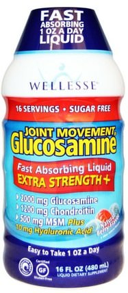 Joint Movement Glucosamine, Natural Berry Flavor, 16 fl oz (480 ml) by Wellesse Premium Liquid Supplements, 補充劑,氨基葡萄糖,健康,骨骼,骨質疏鬆症,關節健康 HK 香港
