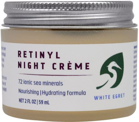 Retinyl Night Cream, 2 fl oz (59 ml) by White Egret Personal Care, 美容,面部護理,面霜乳液,精華素,視黃醇皮膚 HK 香港