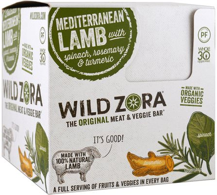Wild Zora Foods Meat & Veggie Bar, Mediterranean Lamb with Spinach, Rosemary & Turmeric, 10 Packs, 1.0 oz (28 g) Each 食物,乾果,小吃