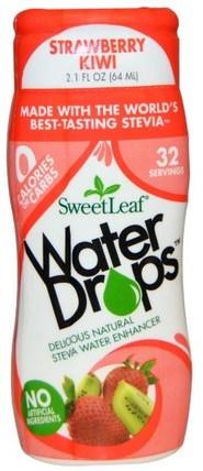 SweetLeaf, Water Drops, Stevia Water Enhancer, Strawberry Kiwi, 2.1 fl oz (64 ml) by Wisdom Natural, 食物,甜味劑 HK 香港