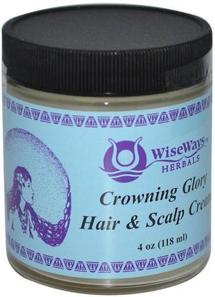 Crowning Glory Hair & Scalp Cream, 4 oz (118 ml) by WiseWays Herbals, 洗澡,美容,頭髮,頭皮 HK 香港