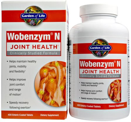 Wobenzym N, Joint Health, 400 Enteric-Coated Tablets by Wobenzym, 健康,骨骼,骨質疏鬆症,關節健康,炎症 HK 香港
