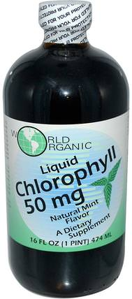 Natural Mint Flavor, 50 mg, 16 fl oz (474 ml) by World Organic Liquid Chlorophyll, 補充劑,葉綠素 HK 香港