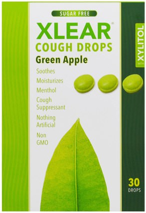 Xylitol, Cough Drops, Sugar Free, Green Apple, 30 Drops by Xlear, 健康,肺和支氣管,咳嗽滴 HK 香港