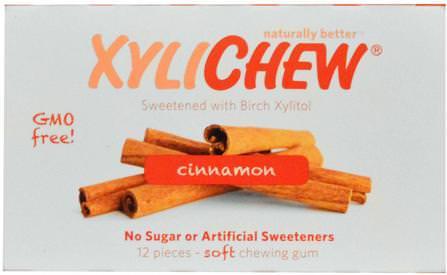 Cinnamon, 12 Pieces by Xylichew Gum, 洗澡,美容,口腔牙齒護理,牙齦薄荷糖,口香糖,木糖醇口香糖糖果 HK 香港