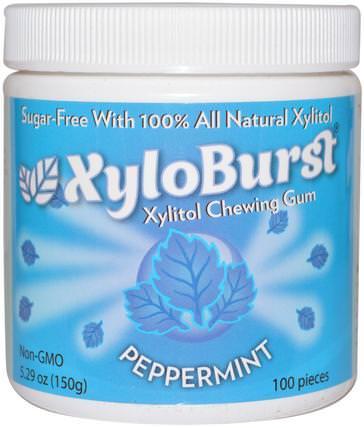 All Natural Xylitol Gum, Peppermint, 5.29 oz (150 g), 100 Pieces by Xyloburst, 洗澡,美容,口腔牙齒護理,牙齦薄荷糖,口香糖 HK 香港