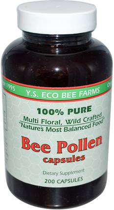 Bee Pollen, 200 Capsules by Y.S. Eco Bee Farms, 補充劑,蜂產品,蜂花粉 HK 香港