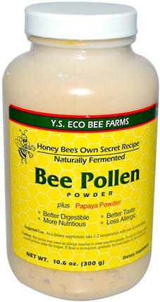 Bee Pollen Powder, Plus Papaya Powder, 10.6 oz (300 g) by Y.S. Eco Bee Farms, 補充劑,蜂產品,蜂花粉 HK 香港
