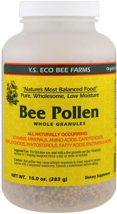 Bee Pollen Whole Granules, 10.0 oz (283 g) by Y.S. Eco Bee Farms, 補充劑,蜂產品,蜂花粉 HK 香港