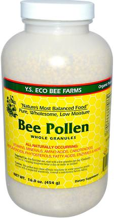Bee Pollen, Whole Granules, 16.0 oz (453 g) by Y.S. Eco Bee Farms, 補充劑,蜂產品,蜂花粉 HK 香港