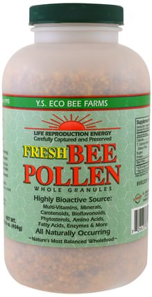 Fresh Bee Pollen Whole Granules, 16.0 oz (454 g) by Y.S. Eco Bee Farms, 冰鎮製冷產品,補充劑,蜂花粉 HK 香港
