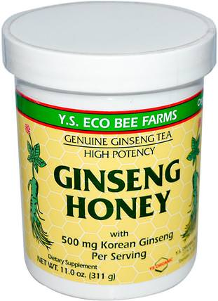 Ginseng Honey, 11.0 oz (311 g) by Y.S. Eco Bee Farms, 補充劑,adaptogen,甜味劑 HK 香港