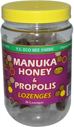 Manuka Honey & Propolis Lozenges, Active 15+, 20 Lozenges, 3.2 oz (92 g) by Y.S. Eco Bee Farms, 食品,甜味劑,蜂產品,蜂膠 HK 香港