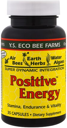 Positive Energy, 35 Capsules by Y.S. Eco Bee Farms, 補充劑,蜂產品,蜂花粉 HK 香港