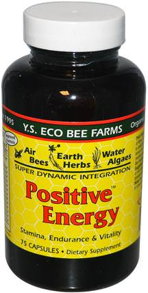 Positive Energy, 75 Capsules by Y.S. Eco Bee Farms, 健康,能量,補品,蜂產品,蜂花粉 HK 香港