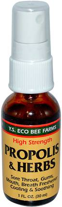 Propolis & Herbs, High Strength, Spray, 1 fl oz (30 ml) by Y.S. Eco Bee Farms, 補充劑,蜂產品,蜂膠 HK 香港