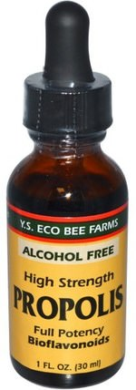 Propolis, High Strength, Alcohol Free, 1 fl oz (30 ml) by Y.S. Eco Bee Farms, 補充劑,蜂產品,蜂膠 HK 香港