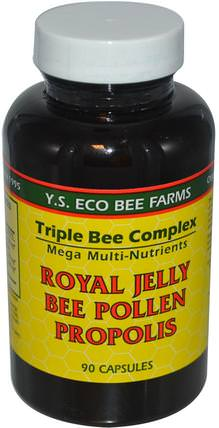 Royal Jelly, Bee Pollen, Propolis, 90 Capsules by Y.S. Eco Bee Farms, 補充劑,蜂產品,蜂王漿 HK 香港