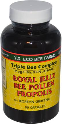 Royal Jelly, Bee Pollen, Propolis, Plus Korean Ginseng, 90 Capsules by Y.S. Eco Bee Farms, 補充劑,adaptogen,蜂產品,蜂王漿 HK 香港