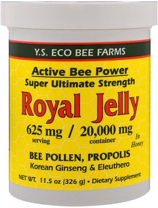 Royal Jelly in Honey, 625 mg, 11.5 oz (326 g) by Y.S. Eco Bee Farms, 補充劑,蜂產品,蜂花粉 HK 香港