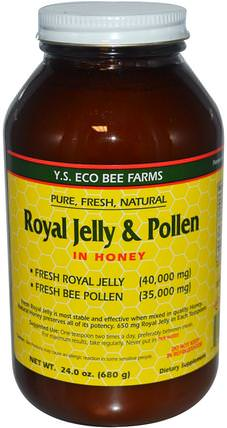 Royal Jelly & Pollen, in Honey, 24 oz (680 g) by Y.S. Eco Bee Farms, 補充劑,蜂產品,蜂王漿,食品,甜味劑 HK 香港
