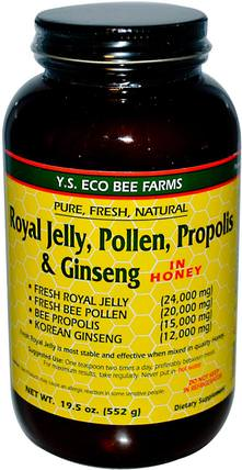 Royal Jelly, Pollen, Propolis & Ginseng in Honey, 19.5 oz (552 g) by Y.S. Eco Bee Farms, 補充劑,adaptogen,蜂產品,蜂花粉 HK 香港