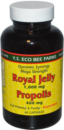 Royal Jelly, Propolis, 1.000 mg/400 mg, 60 Capsules by Y.S. Eco Bee Farms, 補充劑,蜂產品,蜂王漿,蜂膠 HK 香港