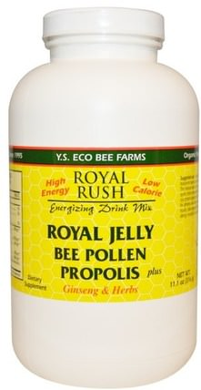 Royal Rush Energizing Drink Mix, Royal Jelly, Bee Pollen, Propolis Plus Ginseng & Herbs, 11.1 oz (316 g) by Y.S. Eco Bee Farms, 補充劑,adaptogen,蜂產品,蜂花粉 HK 香港