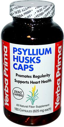 Psyllium Husks Caps, 625 mg, 180 Capsules by Yerba Prima, 補充劑,洋車前子殼,洋車前子殼膠囊 HK 香港