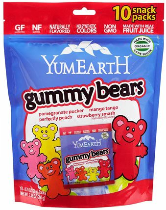 Gummy Bears, Assorted Flavors, 10 Snack Packs, 25.5 g Each by YumEarth, 食物,小吃,糖果 HK 香港