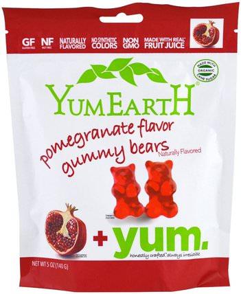 Gummy Bears, Pomegranate + Yum, 5 oz (140 g) by YumEarth, 食物,小吃,糖果 HK 香港