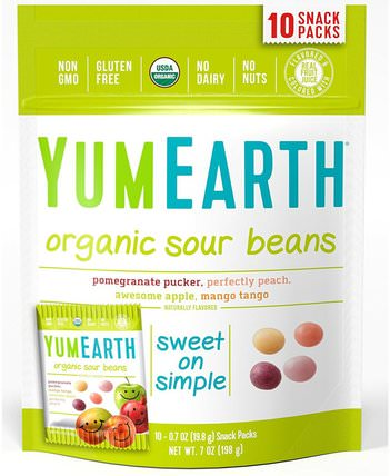 Organic Sour Beans, Assorted Flavors, 10 Snack Packs, 0.7 oz (19.8 g) Each by YumEarth, 食物,小吃,糖果 HK 香港