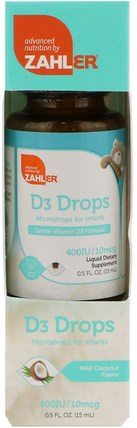 D3 Drops, Microdrops for Infants, Mild Coconut Flavor, 0.5 fl oz (15 ml) by Zahler, 兒童健康,嬰兒,嬰兒補充劑,維生素 HK 香港