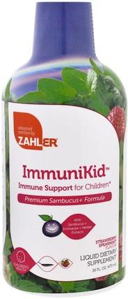 Zahler, ImmuniKid, Immune Support for Children, Strawberry Spearmint, 16 fl oz (473 ml) 兒童健康,感冒流感和病毒