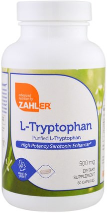 L-Tryptophan, Purified L-Tryptophan, 500 mg, 60 Capsules by Zahler, 補充劑,l色氨酸,抗壓力情緒支持 HK 香港