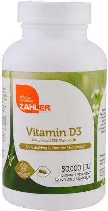 Vitamin D3, 50.000 IU, 120 Vegetable Capsules by Zahler, 維生素,維生素D3 HK 香港