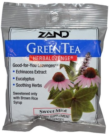 GreenTea, Herbalozenge, Sweet Mint, 15 Lozenges by Zand, 健康,肺和支氣管,咳嗽滴 HK 香港