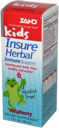 Kids, Insure Herbal, Immune Support, Raspberry, 1 fl oz (30 ml) by Zand, 兒童健康,感冒感冒咳嗽 HK 香港