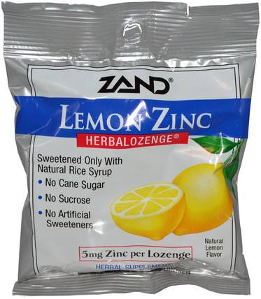 Lemon Zinc, Herbalozenge, Natural Lemon Flavor, 15 Lozenges by Zand, 補品,礦物質,鋅含片,健康,感冒和流感 HK 香港