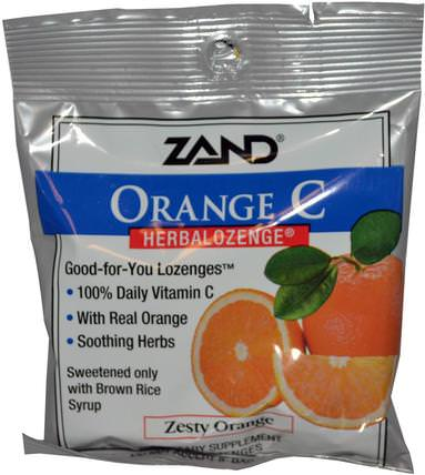 Orange C, Herbalozenge, Zesty Orange, 15 Lozenges by Zand, 健康,肺和支氣管,咳嗽滴 HK 香港