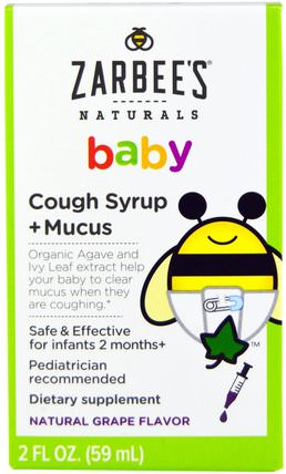 Baby, Cough Syrup + Mucus, Natural Grape Flavor, 2 fl oz (59 ml) by Zarbees, 兒童健康,嬰兒,嬰兒補品,感冒感冒咳嗽 HK 香港