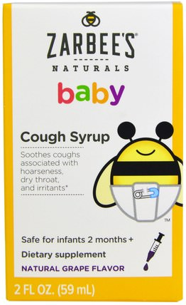 Baby Cough Syrup, Natural Grape Flavor, 2 fl oz (59 ml) by Zarbees, 兒童健康,嬰兒,嬰兒補品,感冒感冒咳嗽 HK 香港