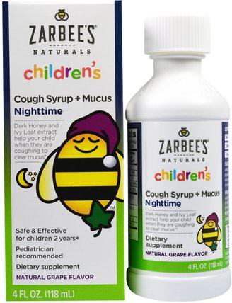 Childrens Cough Syrup+ Mucus Nighttime, Natural Grape Flavor, 4 fl oz (118 ml) by Zarbees, 兒童健康,感冒感冒咳嗽,感冒感冒和病毒,咳嗽糖漿 HK 香港