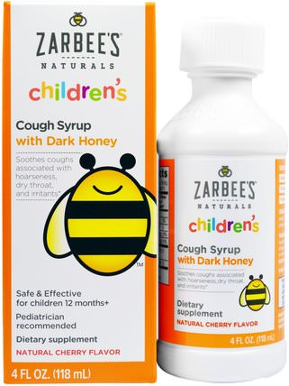 Childrens Cough Syrup with Dark Honey, Natural Cherry Flavor, 4 fl oz (118 ml) by Zarbees, 補品,蜂產品,感冒感冒咳嗽 HK 香港