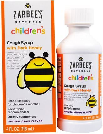 Childrens Cough Syrup with Dark Honey, Natural Grape Flavor, 4 fl oz (118 ml) by Zarbees, 補品,蜂產品,感冒感冒咳嗽 HK 香港